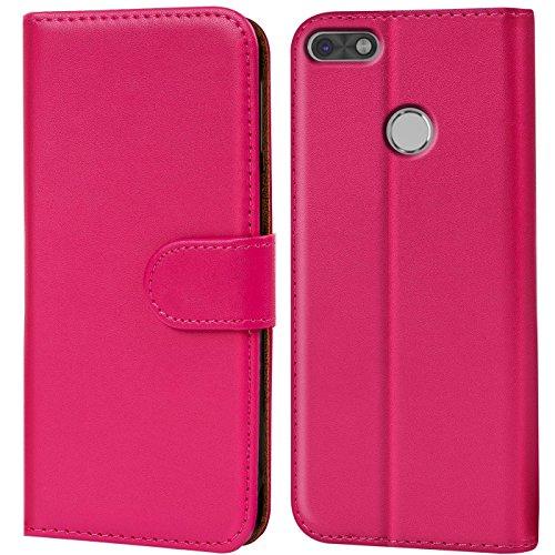 Conie BW12260 Basic Wallet Kompatibel mit Huawei P9 Lite, Booklet PU Leder Hülle Tasche mit Kartenfächer & Aufstellfunktion für P9 Lite Hülle Pink