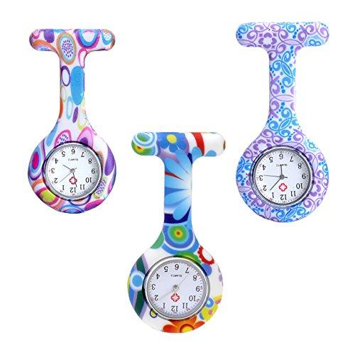 JSDDE Uhren Krankenschwesteruhr Set Pulsuhr FOB Uhr Pflegeruhr Ansteckuhr Silikon Hülle Schwesternuhr Damenuhr Brosche Taschenuhr Analoge Quarzuhr (3 Stück Set)
