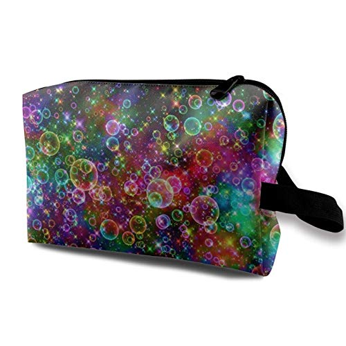 Travel Makeup Storage Bag- Portable Toiletry Handbag Small Cosmetic Organizer Pouch for Women & Men- Colorful Bubbles