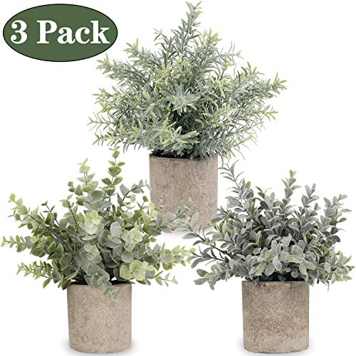 Artificial Potted Plants Mini Fake Eucalyptus Plant, Small Plastic Green Plant with Pot, Faux Rosemary Plants for Home Decor, Indoor, Table Decoration - 3 Pack, Flocking Green