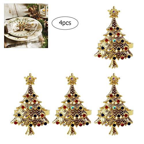 Haplws 4pcs Diamant Weihnachtsbaum Serviettenring Gold Serviettenschnalle Weihnachten Handtuchring Gold