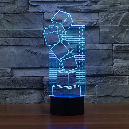 LED Nachtlicht 3D-Vision-Sieben Farben-Fernbedienung-Schreibtischlampe Illusion Bunt Cool Style Nachtlicht Festival Streich Geschenk Romantischer Urlaub Niedlich Kreatives GadgetNachtlichtprojektor