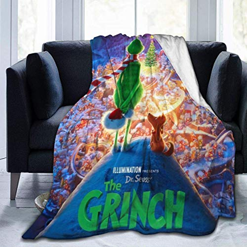 The Grinch Movie Christmas Flannel Throw Blanket Soft Bedspread Blanket Home Decor Perfect for Couch Bed 50x40 inch