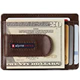 Alpine Swiss Dermot Mens RFID Safe Money Clip Front Pocket Wallet Leather Comes in Gift Box Brown