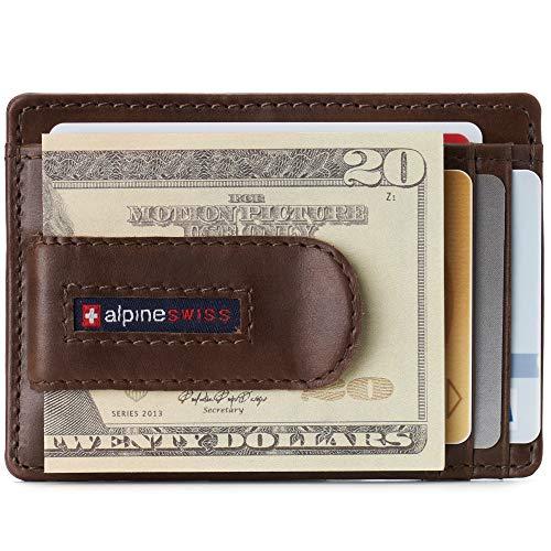 Alpine Swiss Dermot Mens RFID Safe Money Clip Front Pocket Wallet Leather Comes in Gift Box Brown