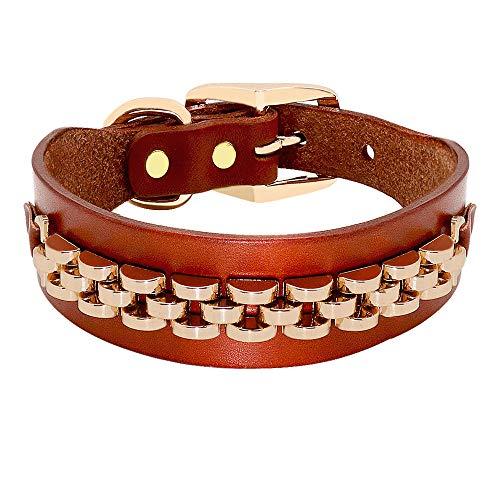 ZYYC Fashion Leather Dog Collar French Bulldog Rhinestone Pet Collar Perro for Small Medium Dogs Metal Accessories Pet Collars-C_M