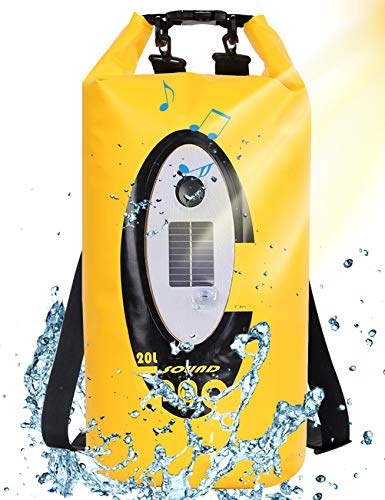 Floating Dry Bag Submersible Waterproof with Bluetooth Speaker Solar Light  20L Roll Top Dry Sack Keeps Gear Dry for Men Women Kayaking Beach Rafting Boating Hiking Camping and Fishing