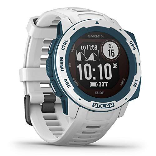 Garmin Instinct Solar Surf – robuste GPS-Smartwatch mit Surf App und Solar-Ladefunktion für bis zu 54 Tage Akku. Anzahl und Länge gesurfter Wellen, Zeit, Gezeiteninfo. Sport- und Gesundheitsfunktion