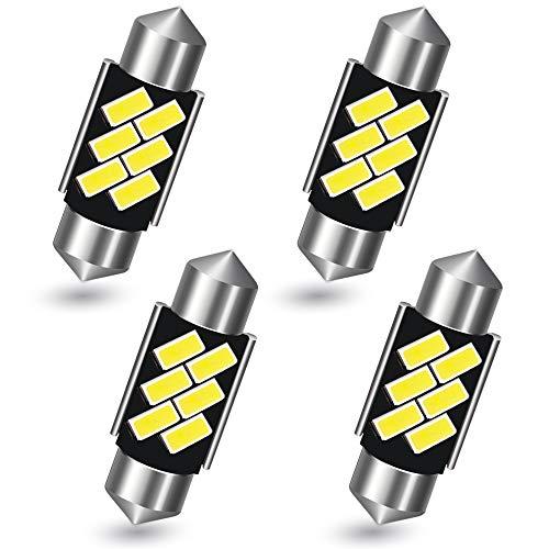 AGLINT 36mm C5W Bombilla LED CANBUS Sin Errores 6418 6411 DE3425 Luz Interior de Coche Domo Mapa Techo del Puerta de Matrícula Luces Blanco 4 Piezas (36mm/37mm)