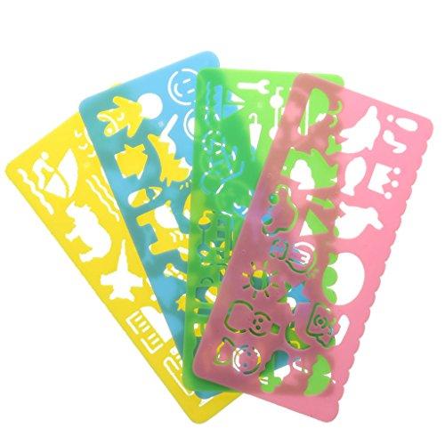 4pcs Plantillas De Dibujo Multicolor Regla Variedad De Estudiantes De Plástico De Niños
