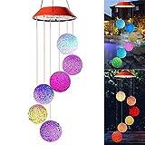 misld wind chimes all'aperto, solare colore rgb che cambia la luce della lampada sei palle mobile romantica sfera di cristallo led for festival arredamento, party, patio yard decorazione del giardino