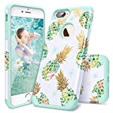 iPhone 8 Plus Case,iPhone 7 Plus Case Pineapple,Casewind 2 in1 Hybrid Cover Hard PC Soft Silicone Shockproof Impact Absorption Anti Scratch Bumper Protective Apple 7 Plus/ 8 Plus Case for Women,Mint