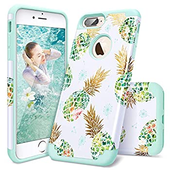 iPhone 8 Plus Case iPhone 7 Plus Case Casewind iPhone 8 plus Case Pineapple Shiny Hard PC Soft Silicone Shockproof Impact Anti Scratch Rugged Bumper Hybrid Protective Case for iPhone 7 Plus / 8 plus