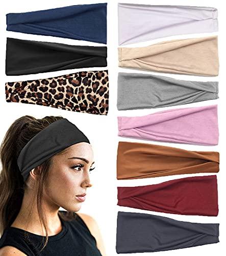 10 stücke Frauen Stirnbänder Workout Yoga Laufende Haarbänder Kein Rutsch Elastischer Haarschmuck für Frauen Mädchen