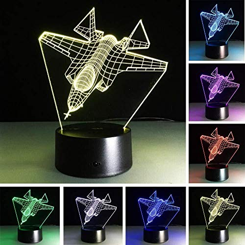 3D Illusion lamp Jet Plane Night Light Suitable for Children Family Friends Birthday Valentine USB 7 Colors (Remote Control)