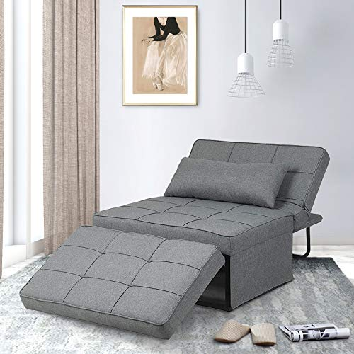 Saemoza Sofa Bed, 4 in 1 Multi Function Folding Ottoman Sleeper Bed, Modern Convertible Chair Adjustable Backrest Sleeper Couch Bed for Living Room/Small Apartment, Light Gary