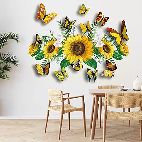 Sonnenblume Wandtattoo mit 12 Stücke 3D Schmetterling Wandaufkleber, Bunt Fliegend 3D Schmetterling Gelbe Blumen Wandsticker, Abnehmbar DIY Wandbild für Schlafzimmer Wohnzimmer Flur Wanddeko