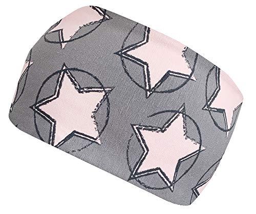 Wollhuhn Öko Mädchen Circle Stars Cooles Elastisches Stirnband Grau/Rosa 20183001