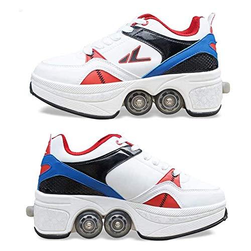 OFAY Kids Deformation Quad Rollschuhe Für Mädchen Jungen Zweireihige Deform Wheel Automatische Wanderschuhe Unsichtbare Riemenscheiben Schuhe Schlittschuhe,38