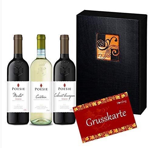 """3er Wein-Geschenk-Set""""Poesie"""" aus dem Veneto mit Rotwein & Weisswein (3 x 750 ml)"""