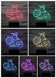 Tisch Nachtlampe Schlafzimmer Motorrad Lampara Mehrfarbige Änderung RGB Kinder Kinder Baby Led Nachtlicht 3D Illusion Motorrad