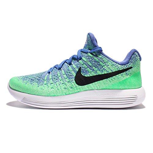 Nike Women's Lunarepic Low Flyknit 2 Running Shoe (10, Medium Blue/Aluminum/Electro Green/Black)
