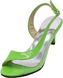 Women Comfort Open Toe Sandals Kitten Heel Slingback Shoes with Buckle