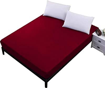 """Dream Care™ Waterproof Dust-Proof Mattress Protector for Queen Size Bed - 78""""x60"""", Maroon"""