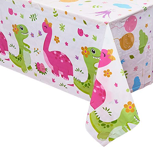 WERNNSAI Dinosaur Printed Tablecloth - 2 PCS 86.6 x 52 Rectangular Plastic Disposable Table Covers Birthday Baby Shower Tea Party Dinosaur Party Supplies for Kids Girls