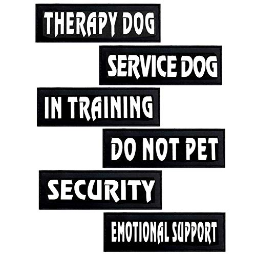 Reflective Dog Patches with Hook Backing -Service Dog, in Training, Do Not Pet, Emotional Support, Therapy Dog, in Training for Animal Vest Harnesses, Collars, Leashes Dog Patches (Security)