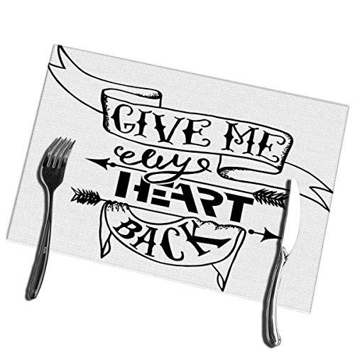 Winter-Zuid eettafel Placemats Set van 6 Inspiratie Quote Geef me Mijn Hart Terug Hittebestendige Placemats