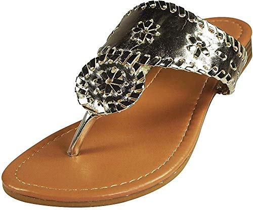 Pierre Dumas Women's Rosetta-1 Slip-on Sandals (9, Gold)