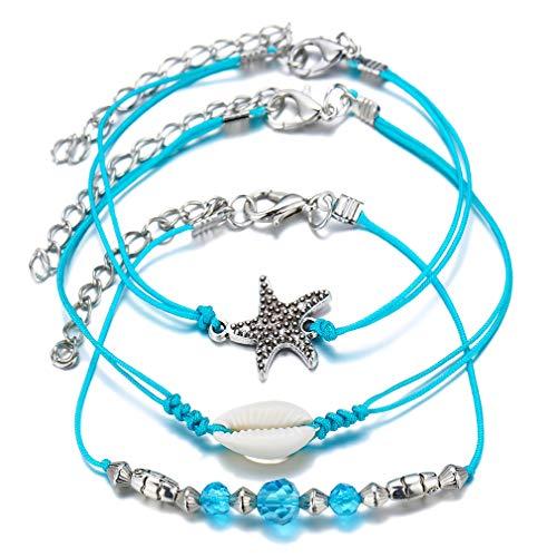 LIGHTBLUE - Juego de 3 pulseras tobilleras para mujer, diseño de estrella de mar