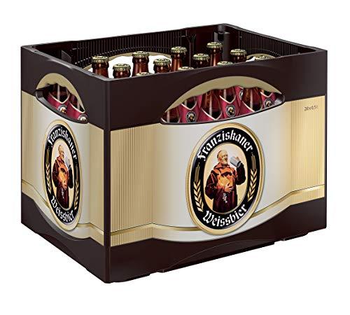 Franziskaner Hefe-Weissbier Dunkel Flaschenbier, MEHRWEG (20 x 0.5 l) im Kasten, Dunkles Weissbier / Weizen Bier aus München