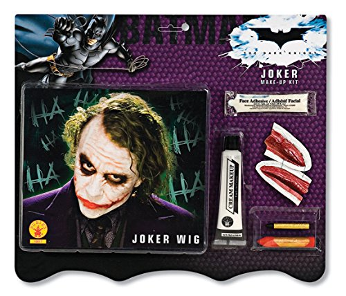 Batman Deluxe Joker Wig And Make Up Kit, Black, One Size