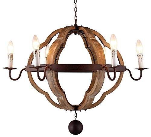 "31.5"" Vintage Rustic Large Quatrefoil Chandelier Pendant Light French Country Wood Metal Wine Barrel Foyer (6 Light Heads) Rustic Iron Ceiling Light Fixture"