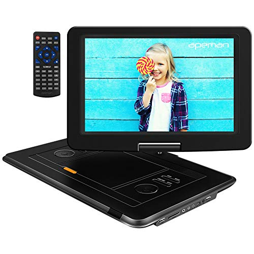 APEMAN Tragbarer DVD Player für Auto und Kinder, 15,5'' mit HD Drehbarer Display Portable CD Player, Eingebautem 6 Stunden Akku, 6000mAh, Unterstützt SD/USB/AV Out/IN Spiele Joystick(schwarz)