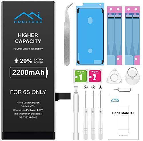 Batería iPhone 6s de Alta Capacidad 2200mAh, Recambio iPhone 6S Bateria y con Kits de Herramientas de Reparación, más 2 * Cintas Adhesiva 1 * Adhesivo de Pantalla e de Manual en español