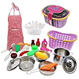 DSXX Küchenspielzeug, 24 Stück Kinderküche Geschirr Kinderküche Zubehör Edelstahl Pfannenset und Schürze für Gemüse Pretend Spielzeug Rollenspiele Mädchen und Jungen