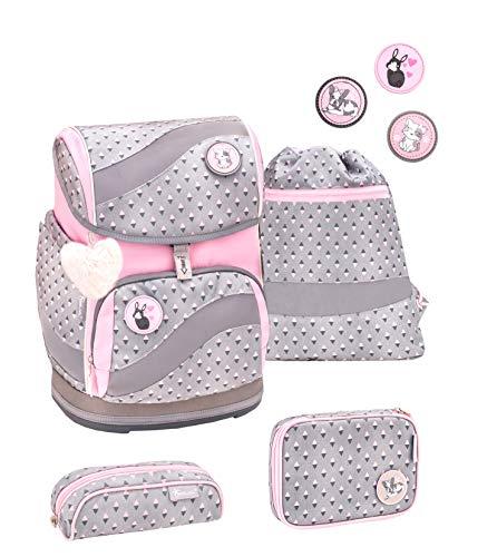Belmil ergonomischer Schulrucksack Schulranzen Set 5 -teilig für Mädchen 1-4 Klasse Grundschule mit Patch Set/Brustgurt, Hüftgurt/Magnetverschluss/Grau, Pink (405-51 Favourite Pet)