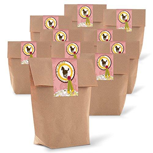 Logbuch-Verlag 25 kleine Geschenktüte PFERD Sticker Aufkleber rosa pink Mädchen DANKE Dankesgeschenk Mitgebseltüten Gastgeschenk Geburtstag 14 x 22 x 5,6 cm