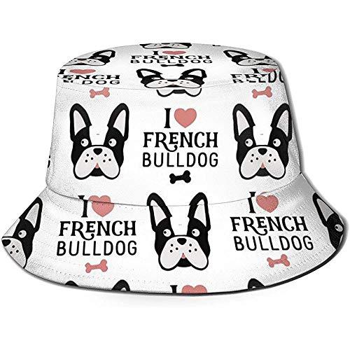Amo los Sombreros de Cubo Transpirables de Parte Superior Plana del Dogo francés Use Gorras de Pescador de protección Solar