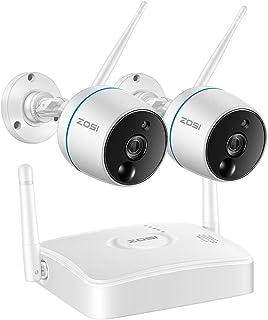 ZOSI 4Canal 1080P Sistema de Seguridad Inalámbrica Mini NVR con 2 Cámaras Impermeables Interior y Exterior Audio Bidireccional PIR Detección de Movimiento Ranura para Tarjeta TF