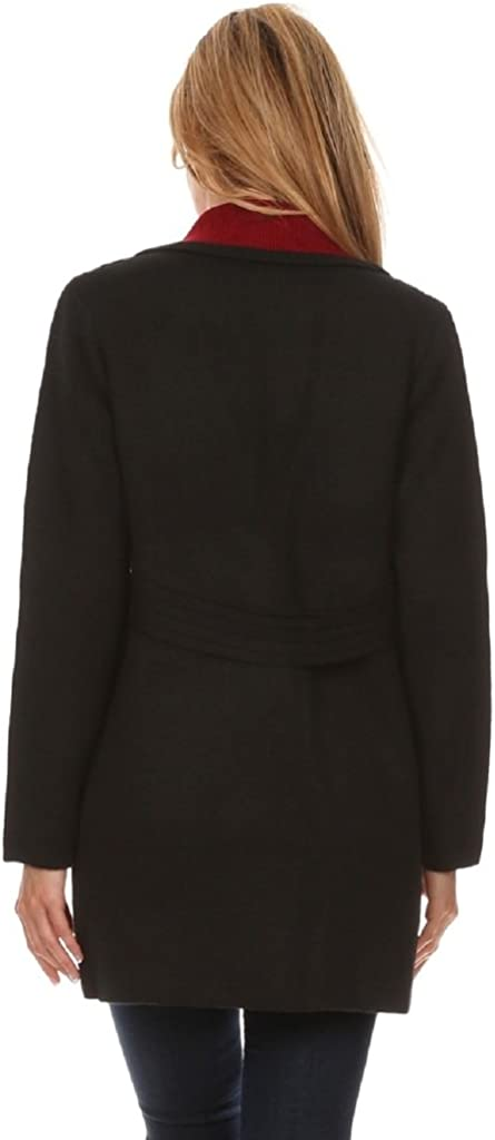 Jessica Moretti Women's Color Block Thick Knit Button Up Cardigan