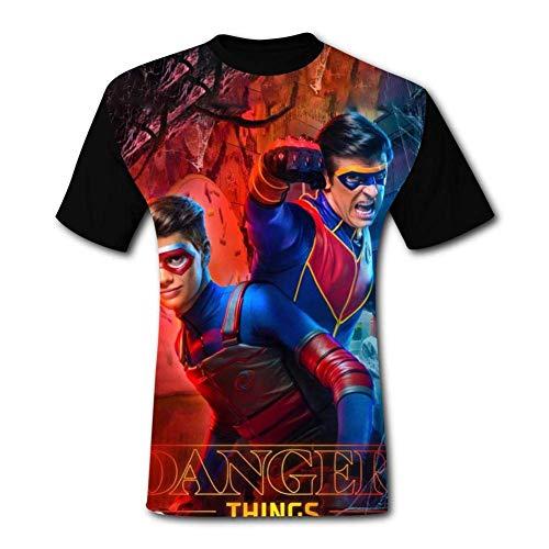 YYdg Camisetas he-nRY Da-nG-eR para Hombre Camisetas Casuales con Cuello en O de Manga Corta 3D