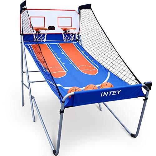 INTEY Electronic Basketball Arcade Game, Indoor Dual Shot Basketball Hoop w  5 Balls, 8 Game Modes and Electronic Scoreboard