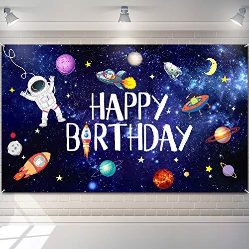 Weltraum Happy Birthday Fotografie Hintergrund Astronaut Rakete Hintergrund Banner Astrologie Astronomie Planet Galaxis Foto Hintergrund für Kinder Geburtstag Party Foto Stand Hintergrund