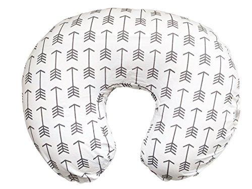 Stretchy Nursing Pillow Cover-White Arrow Newborn Baby Feeding Cushion Case-Cute Donut Shape Wedge Pillow-Soft Jersey Cotton Breastfeeding Slipcover