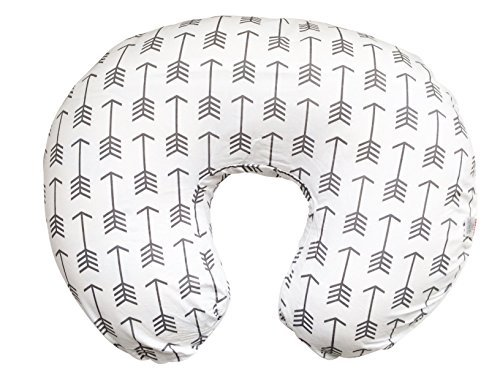 Stretchy Nursing Pillow Cover-White Arrow Newborn Baby Feeding Cushion Case-Cute Donut Shape Wedge Pillow-Soft Jersey Cotton Breastfeeding Slipcover