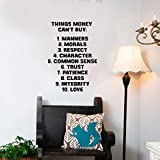 Vinyl Wall Art Decal - Things Money Can't Buy Morals Respect 18.3' x 13' - Motivational Quote Living Room Bedroom Home Office Business School Wall Decor Door Mural - Trendy Modern Wall Sticker Decals